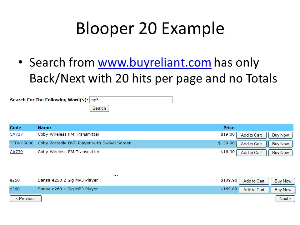Blooper 20 Example Search from www.buyreliant.com has only Back/Next with 20 hits per page and no Totals.
