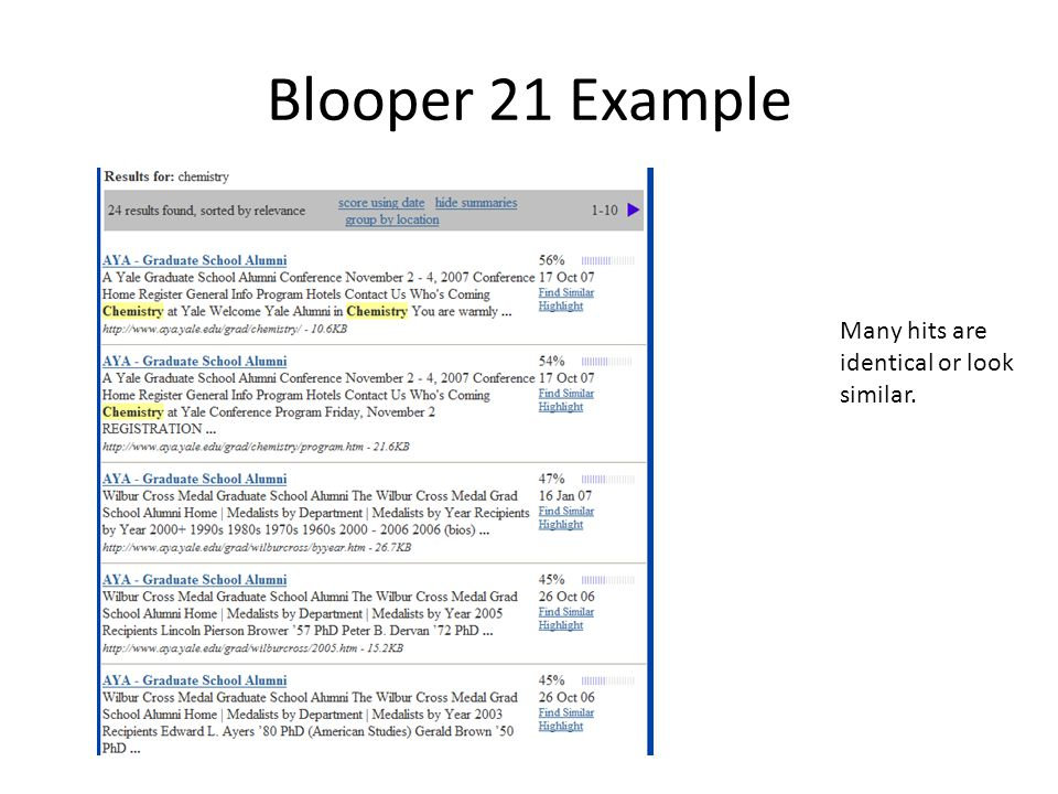 Blooper 21 Example Many hits are identical or look similar.