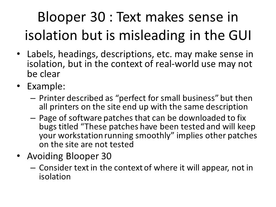Blooper 30 : Text makes sense in isolation but is misleading in the GUI