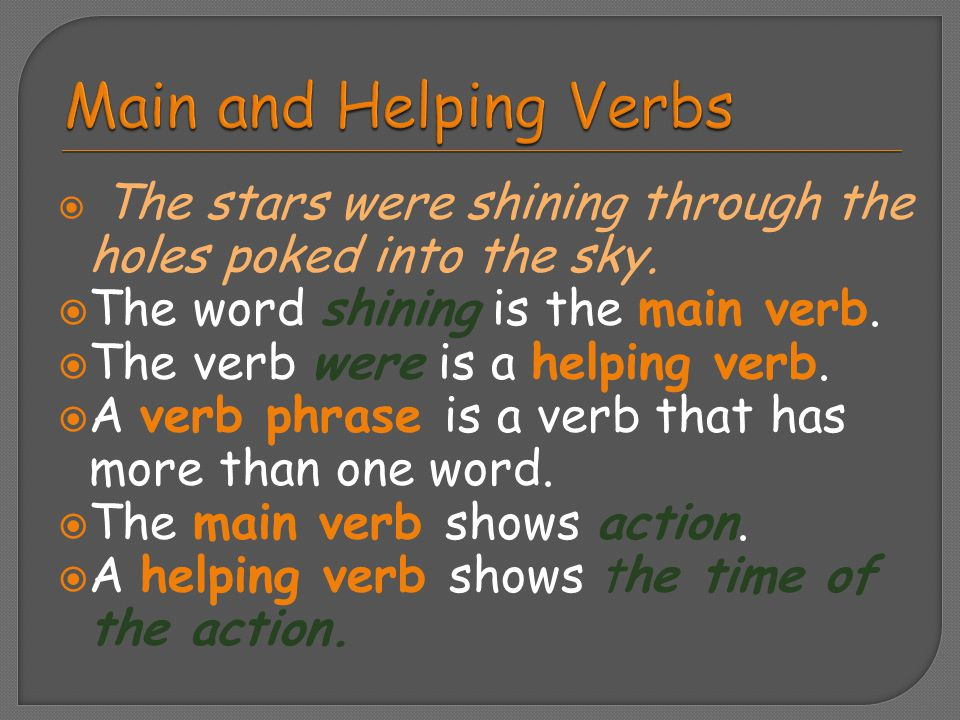 Main and Helping Verbs The word shining is the main verb.