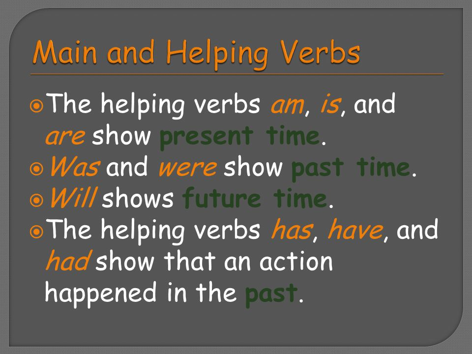 Main and Helping Verbs The helping verbs am, is, and are show present time. Was and were show past time.