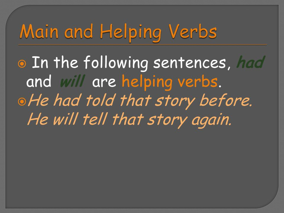 Main and Helping Verbs In the following sentences, had and will are helping verbs.