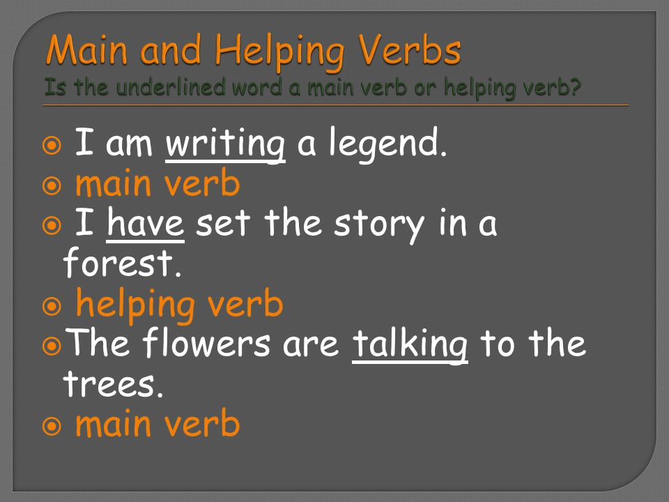Main and Helping Verbs Is the underlined word a main verb or helping verb