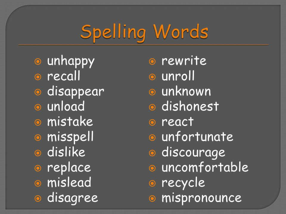 Spelling Words unhappy recall disappear unload mistake misspell