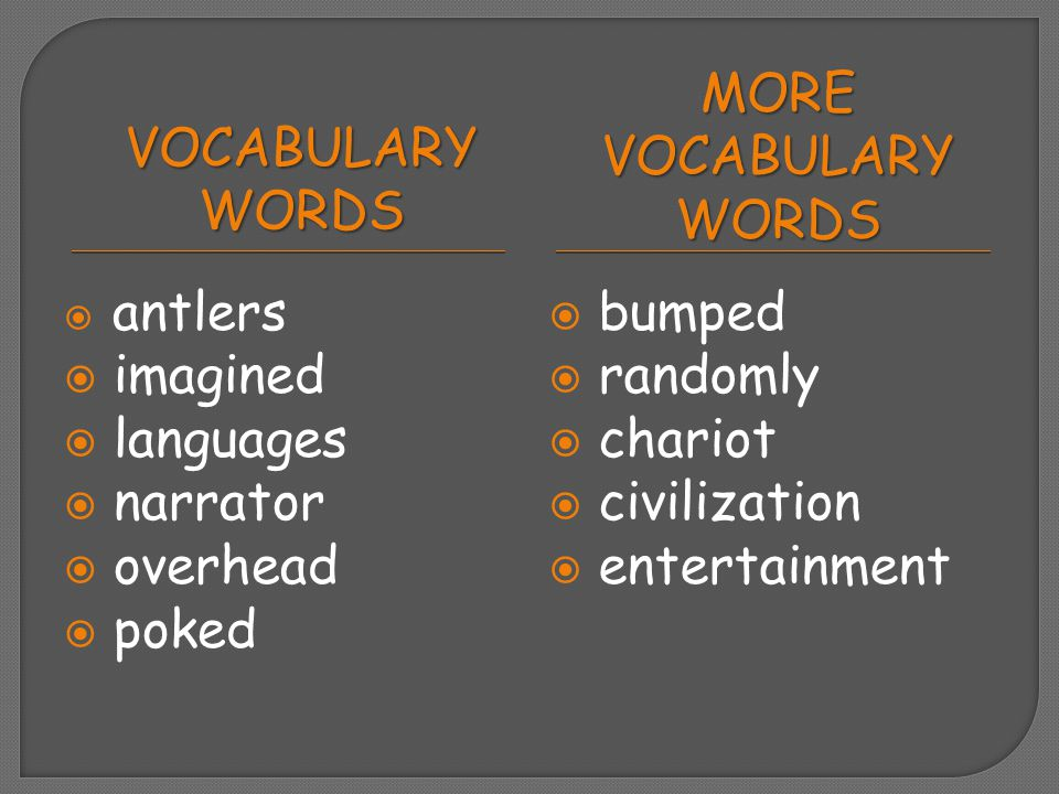 Vocabulary Words More Vocabulary Words imagined languages narrator