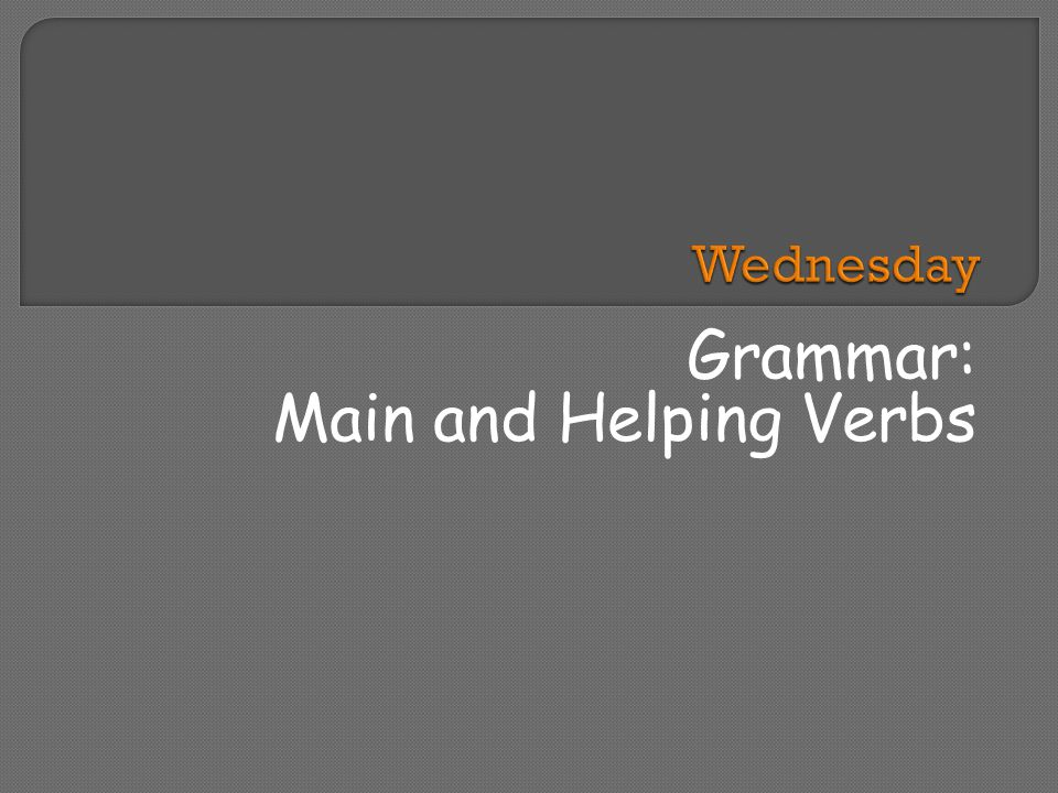 Grammar: Main and Helping Verbs