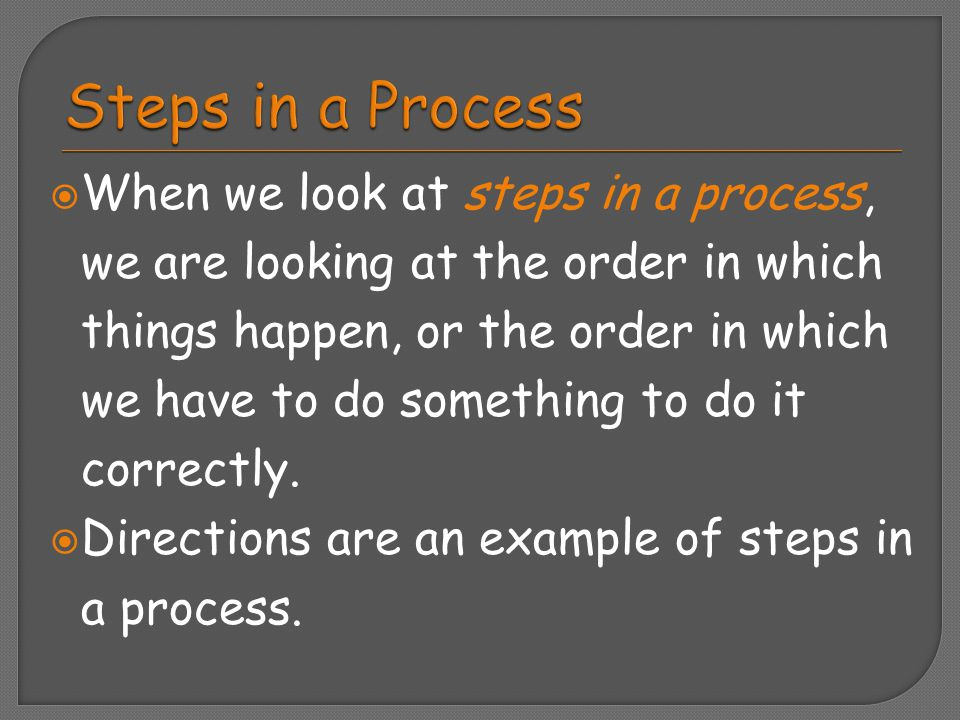 Steps in a Process