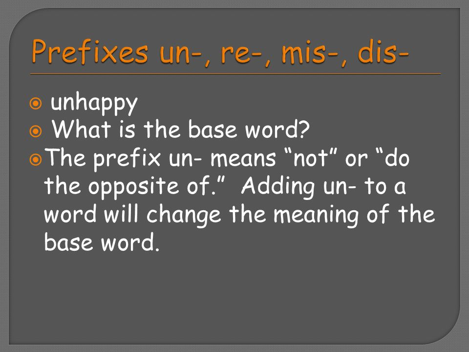 Prefixes un-, re-, mis-, dis-
