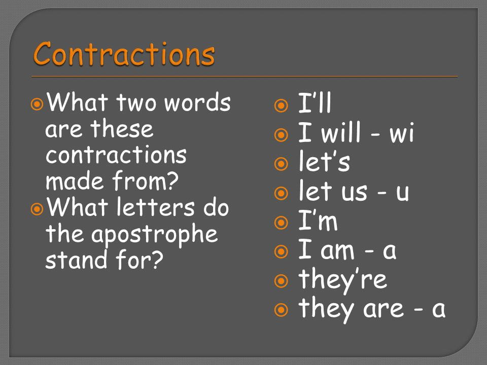 Contractions I'll I will - wi let's let us - u I'm I am - a they're