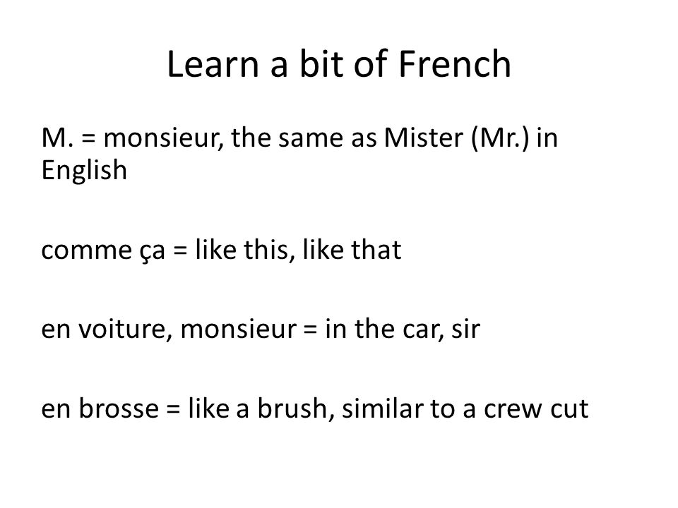 Learn a bit of French