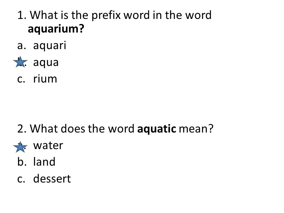 1. What is the prefix word in the word aquarium