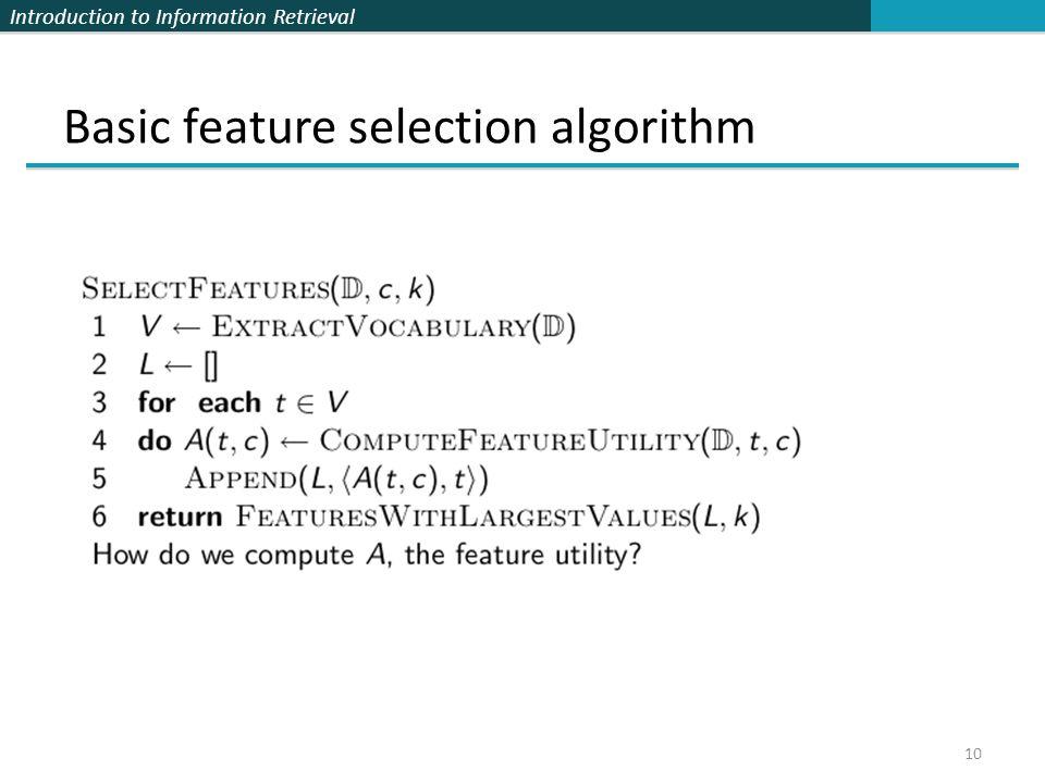Basic feature selection algorithm