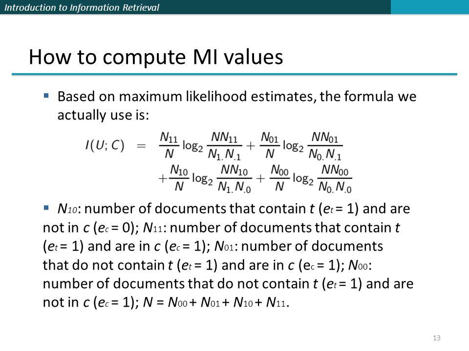 How to compute MI values