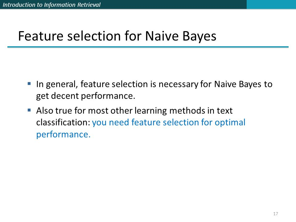 Feature selection for Naive Bayes