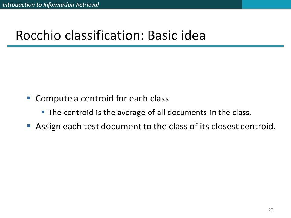 Rocchio classification: Basic idea