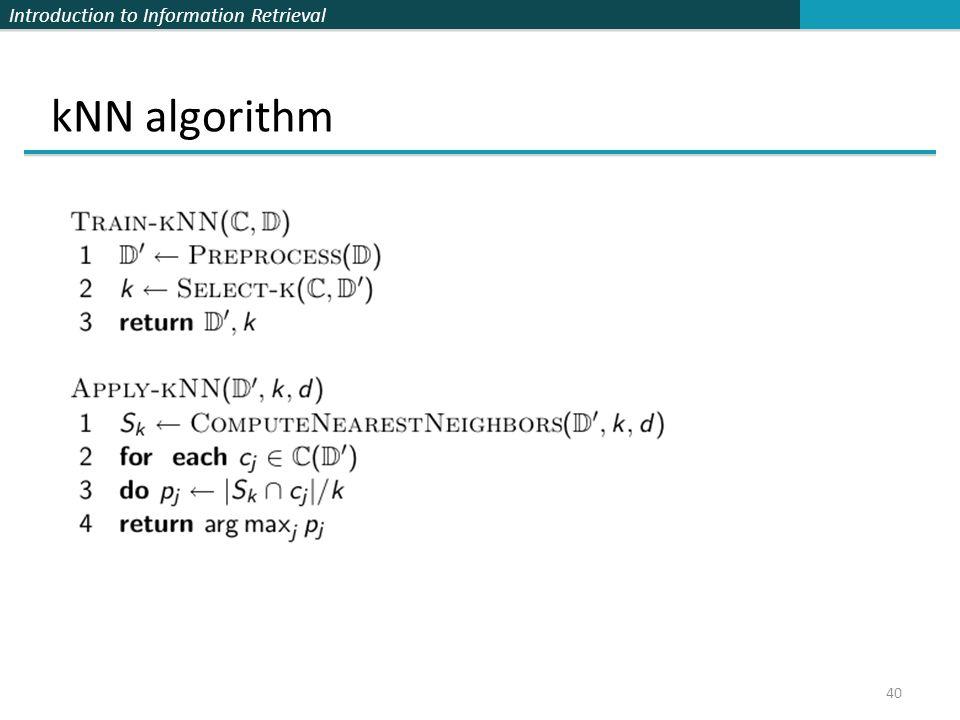 kNN algorithm 40