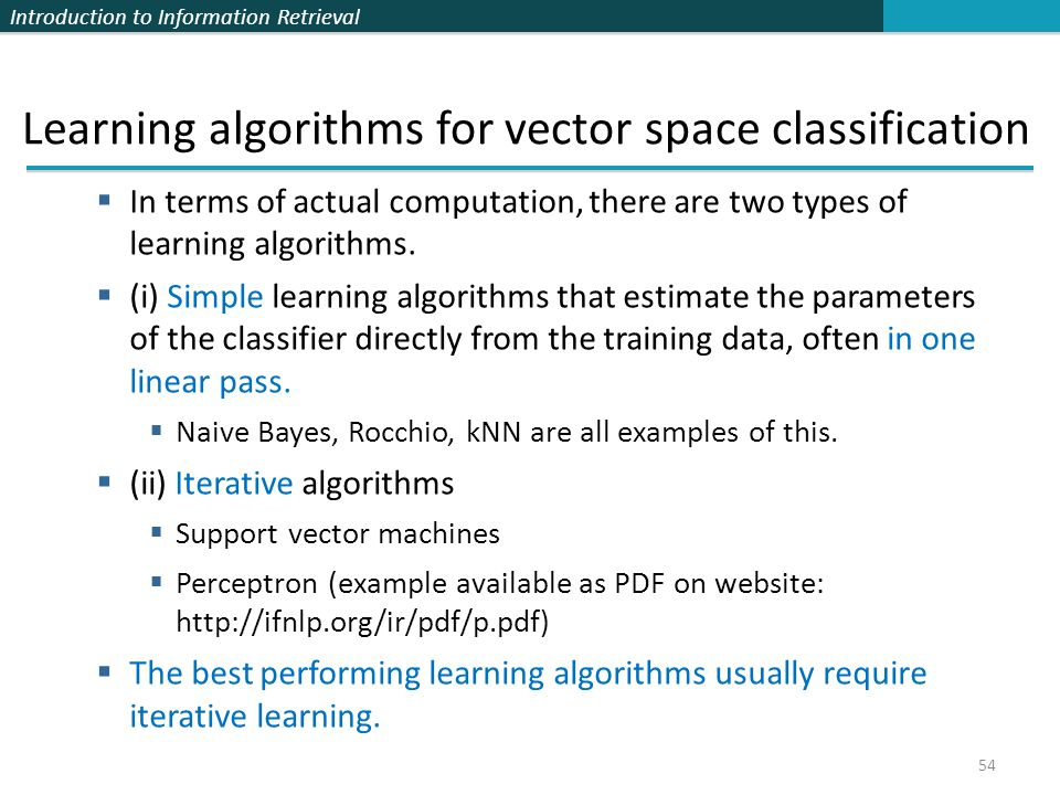 Learning algorithms for vector space classification