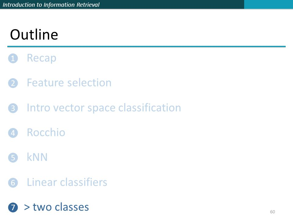 Outline Recap Feature selection Intro vector space classification