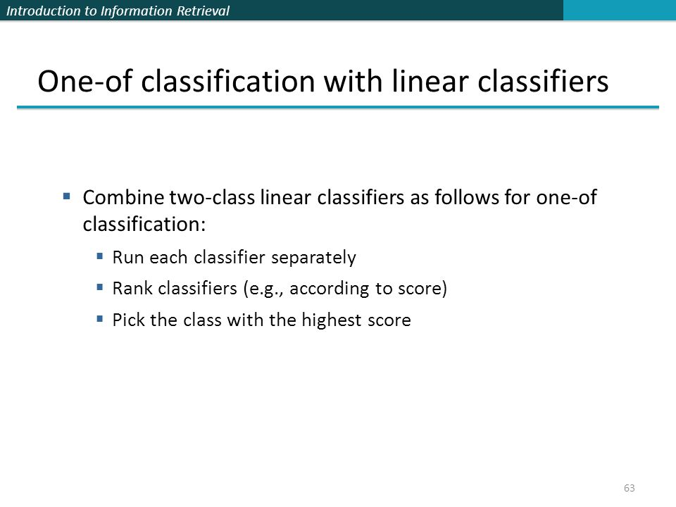 One-of classification with linear classifiers