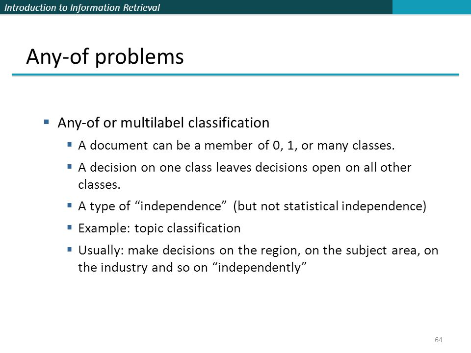 Any-of problems Any-of or multilabel classification