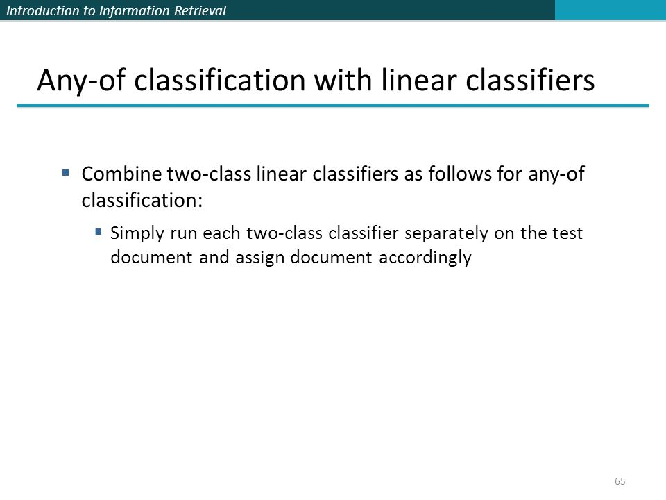 Any-of classification with linear classifiers