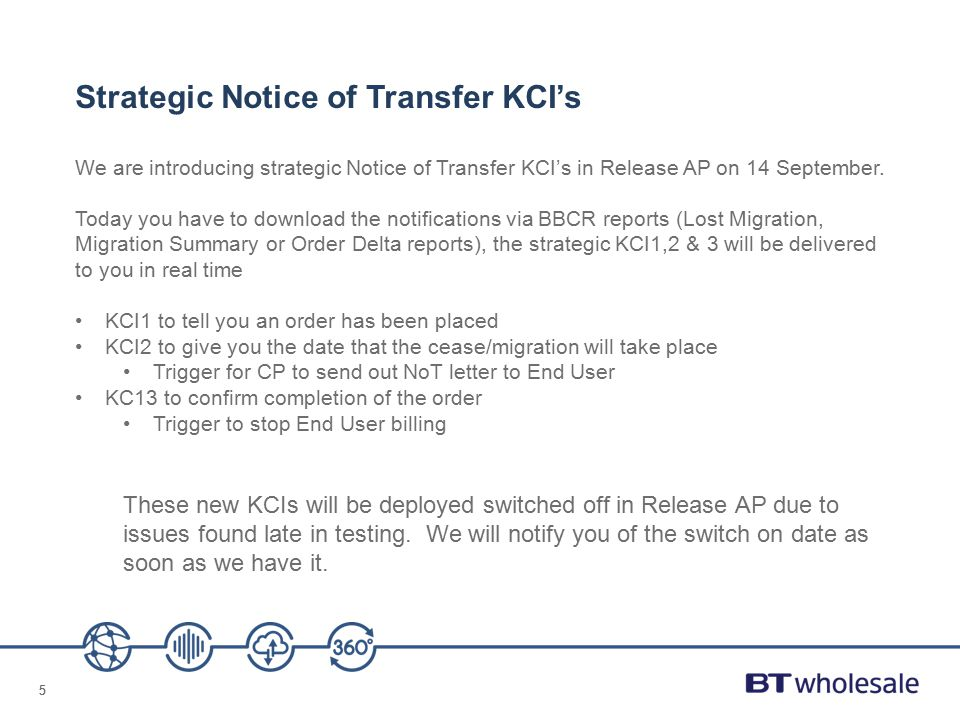 Strategic Notice of Transfer KCI's