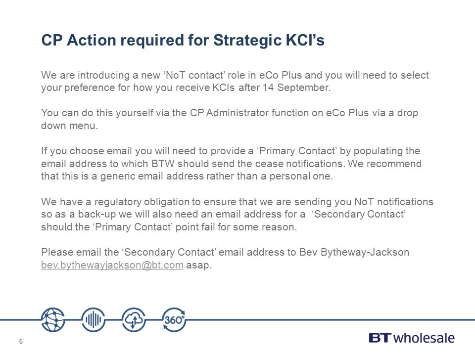 CP Action required for Strategic KCI's