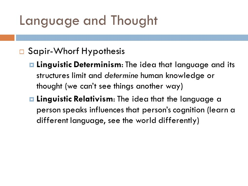 Language and Thought Sapir-Whorf Hypothesis