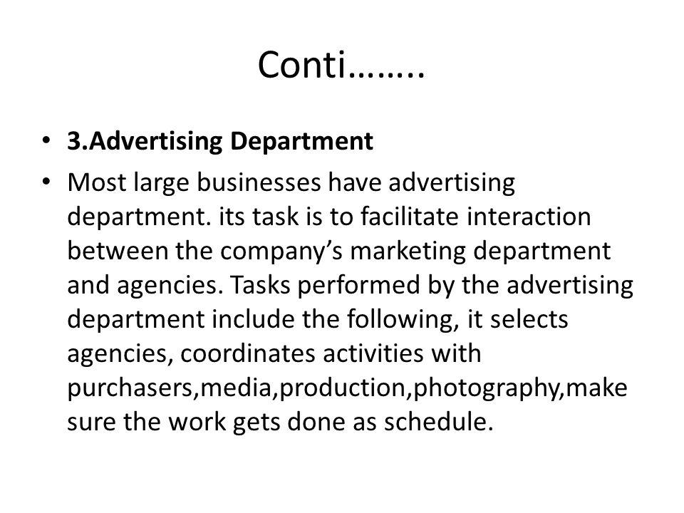 Conti…….. 3.Advertising Department