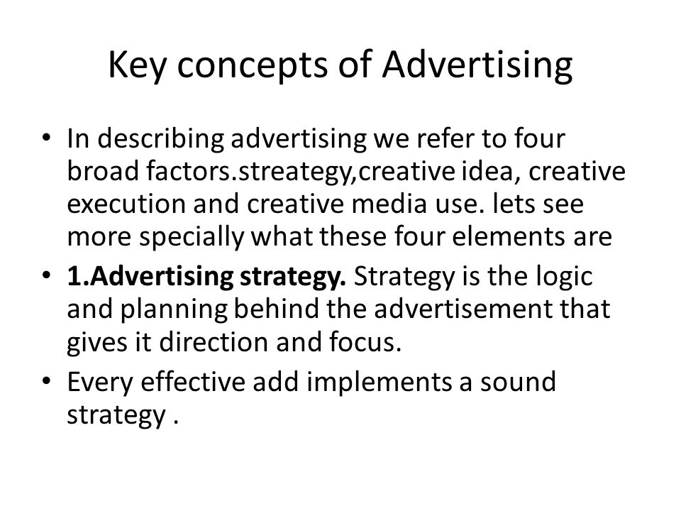 Key concepts of Advertising