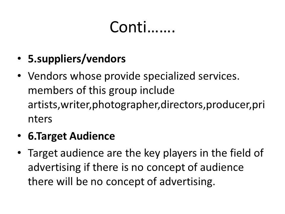 Conti……. 5.suppliers/vendors