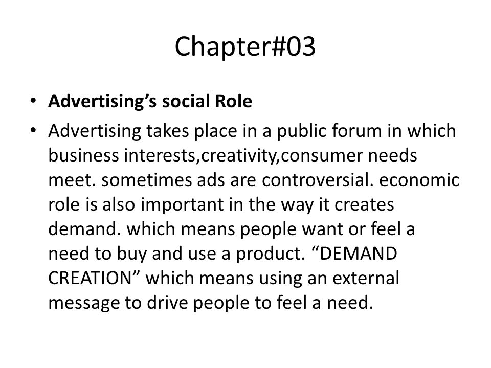 Chapter#03 Advertising's social Role