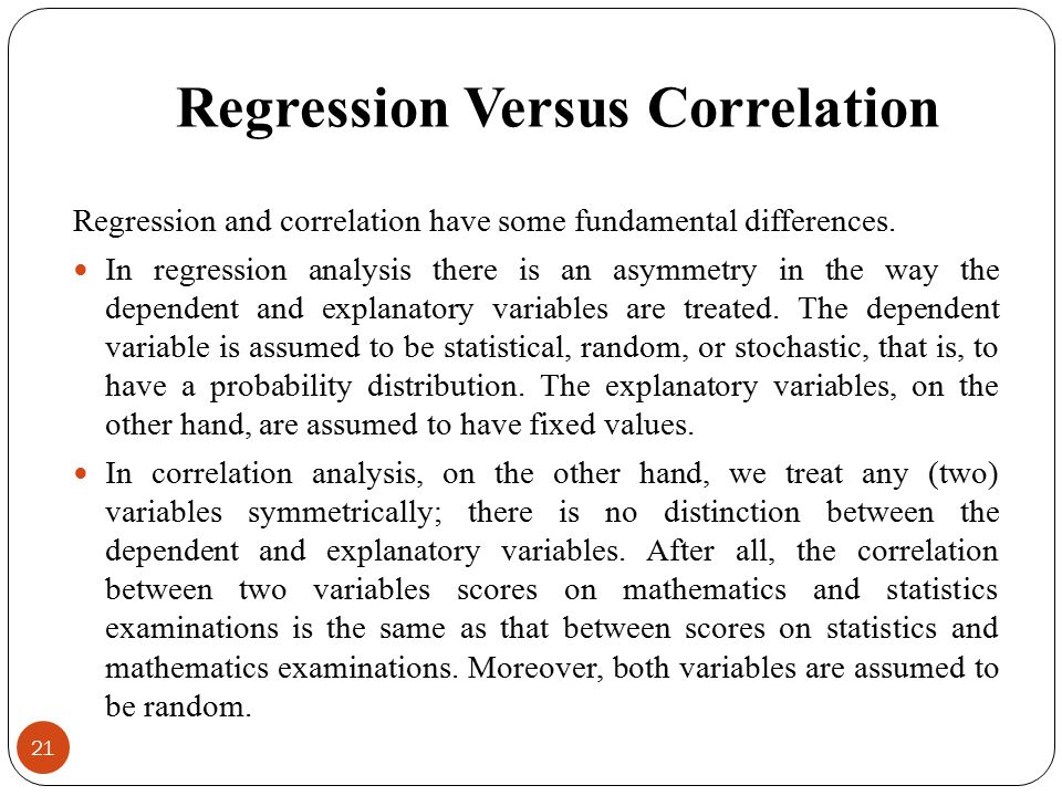 Regression Versus Correlation