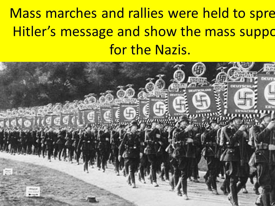 Mass marches and rallies were held to spread Hitler's message and show the mass support for the Nazis.