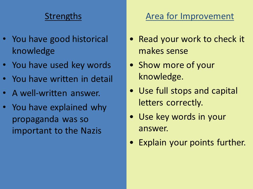 Strengths Area for Improvement. You have good historical knowledge. You have used key words. You have written in detail.