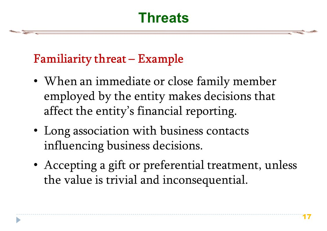 Threats Familiarity threat – Example