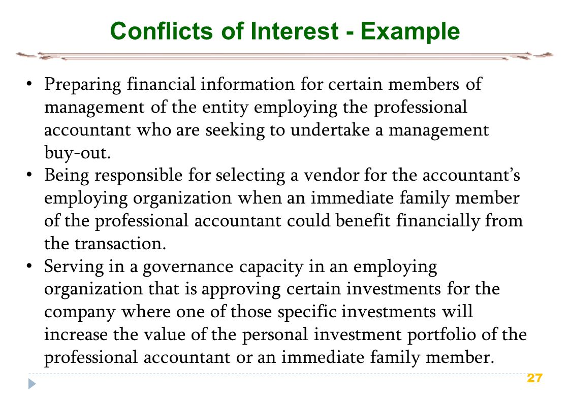 Conflicts of Interest - Example