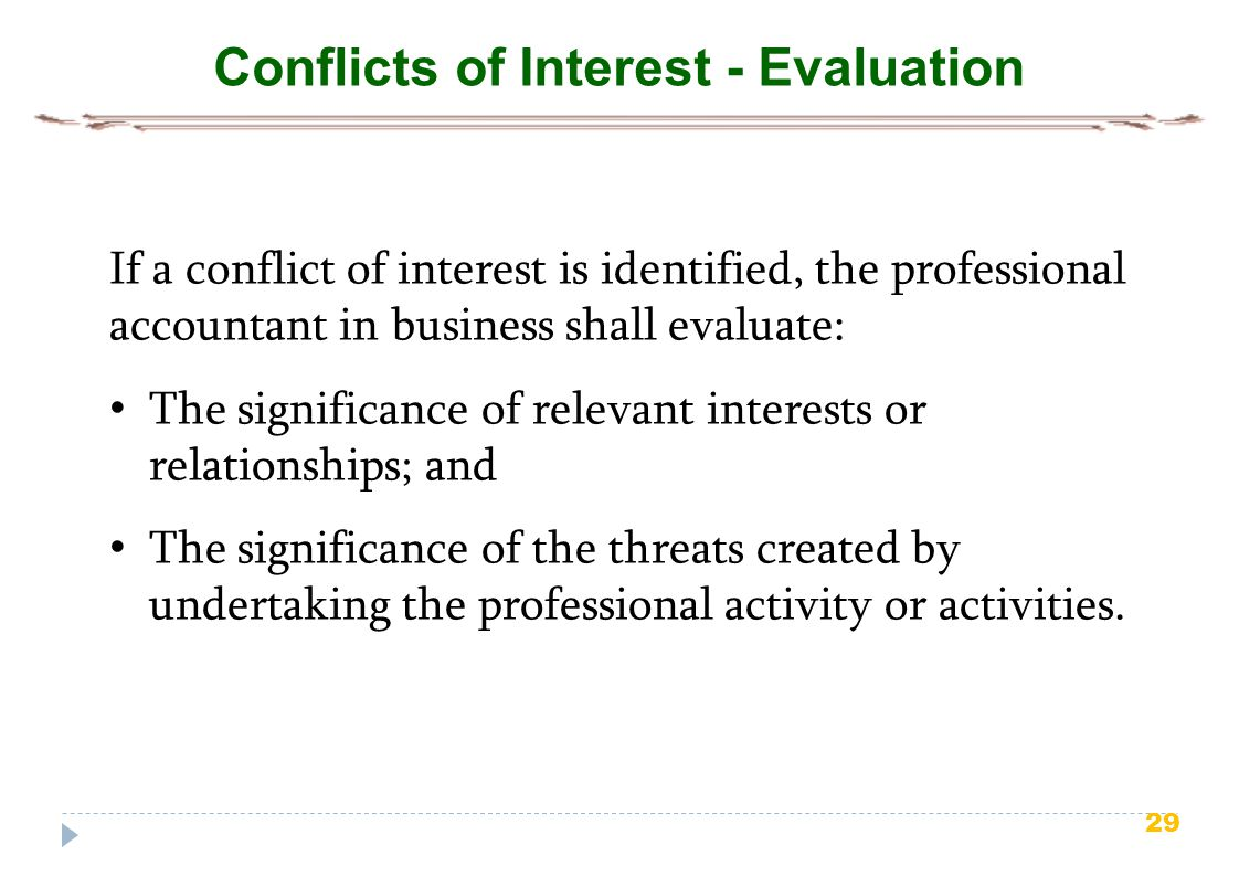 Conflicts of Interest - Evaluation