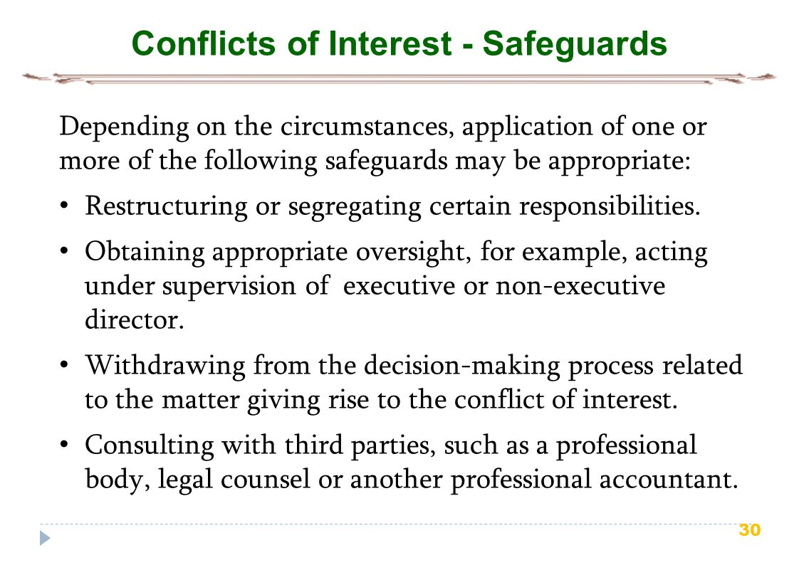 Conflicts of Interest - Safeguards