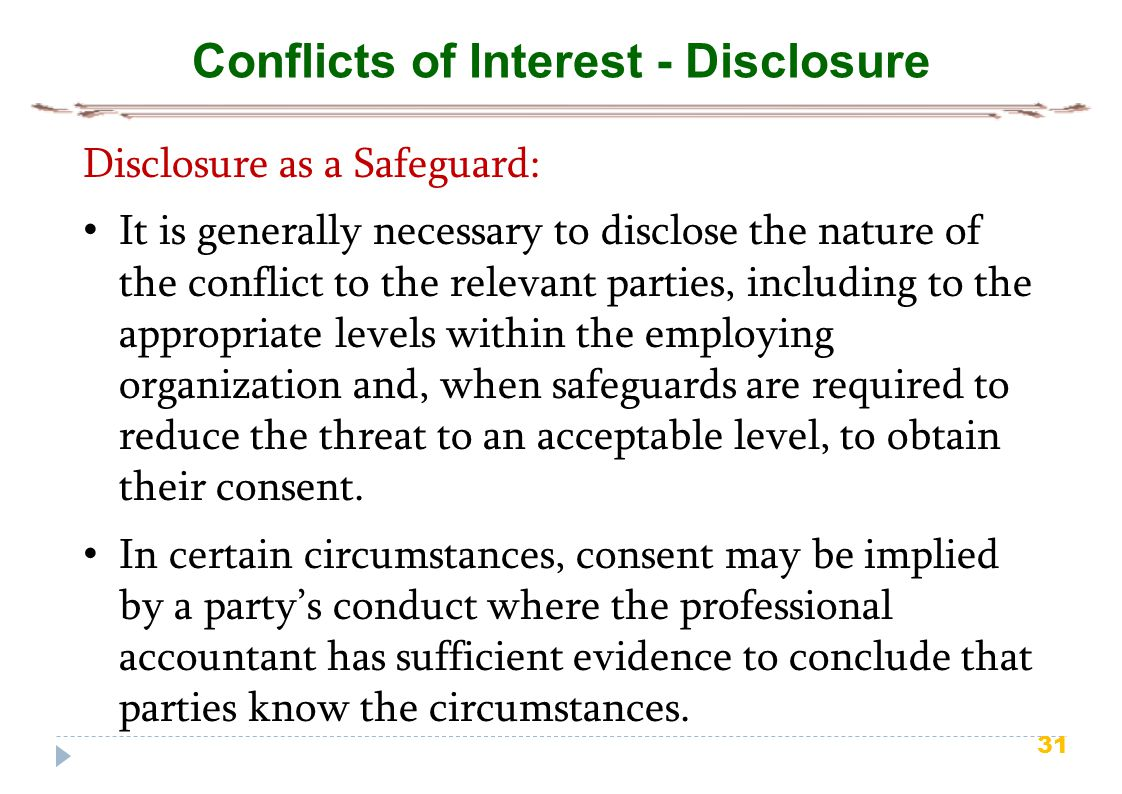 Conflicts of Interest - Disclosure