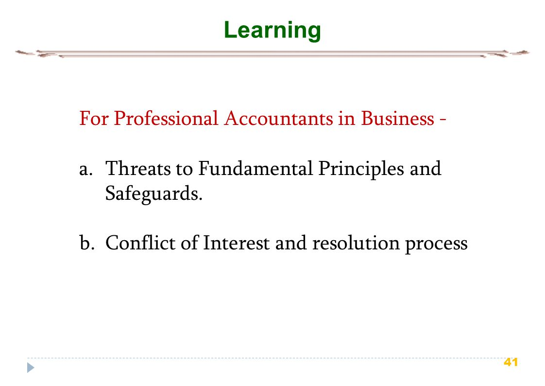 Learning For Professional Accountants in Business -