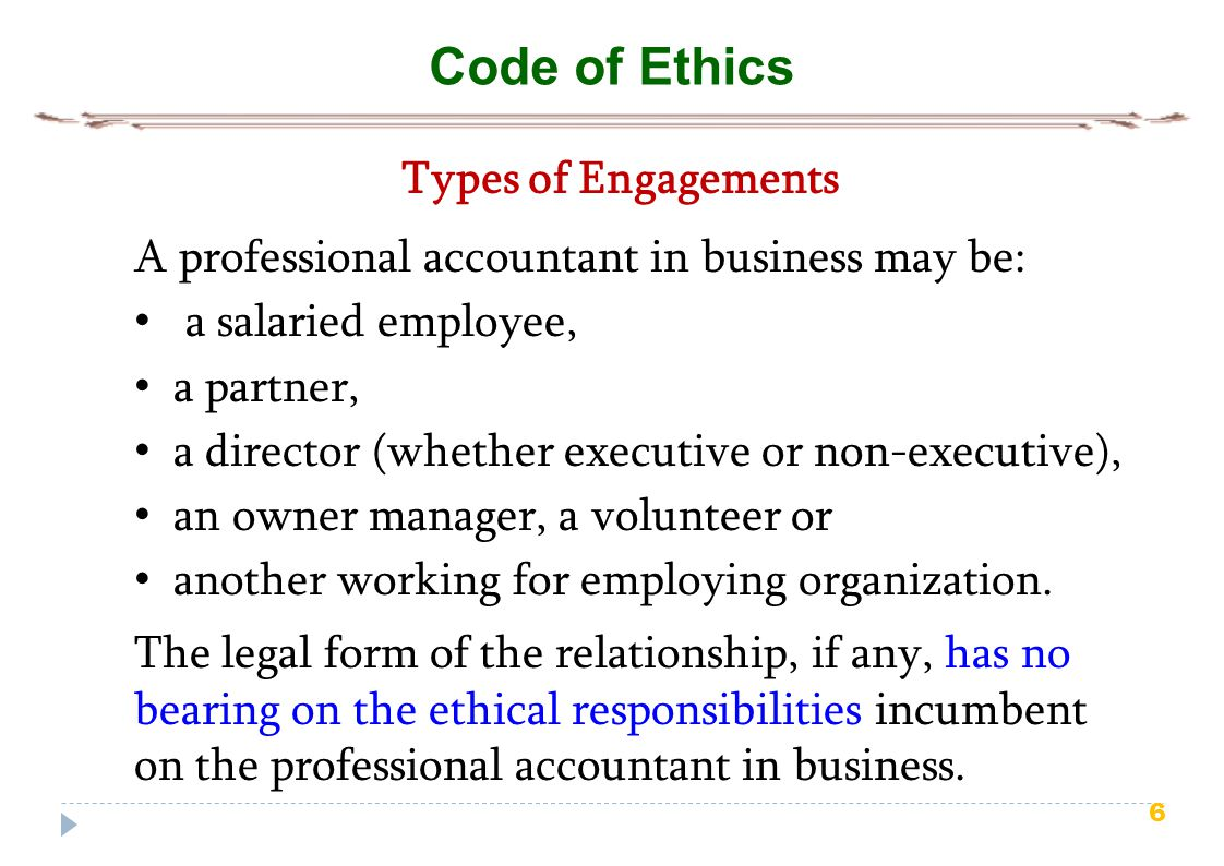 Code of Ethics Types of Engagements