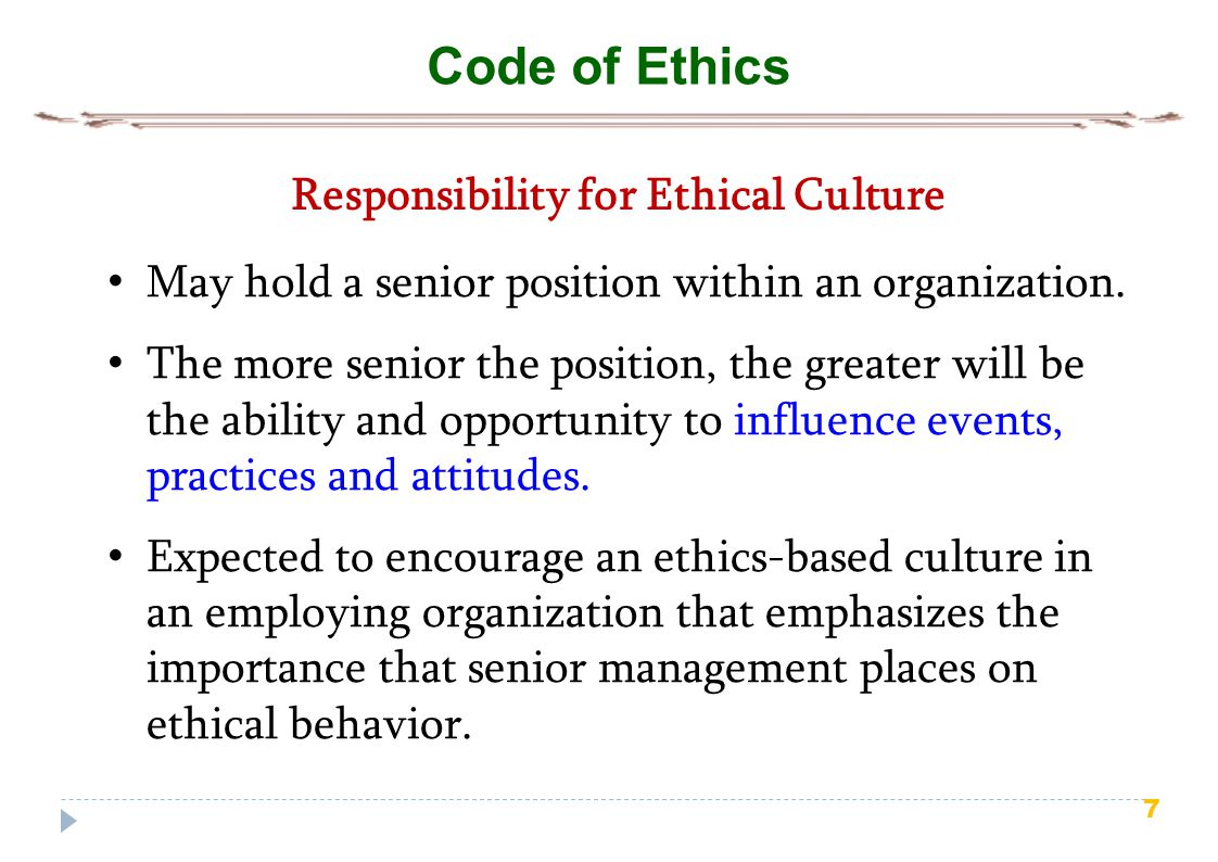 Responsibility for Ethical Culture