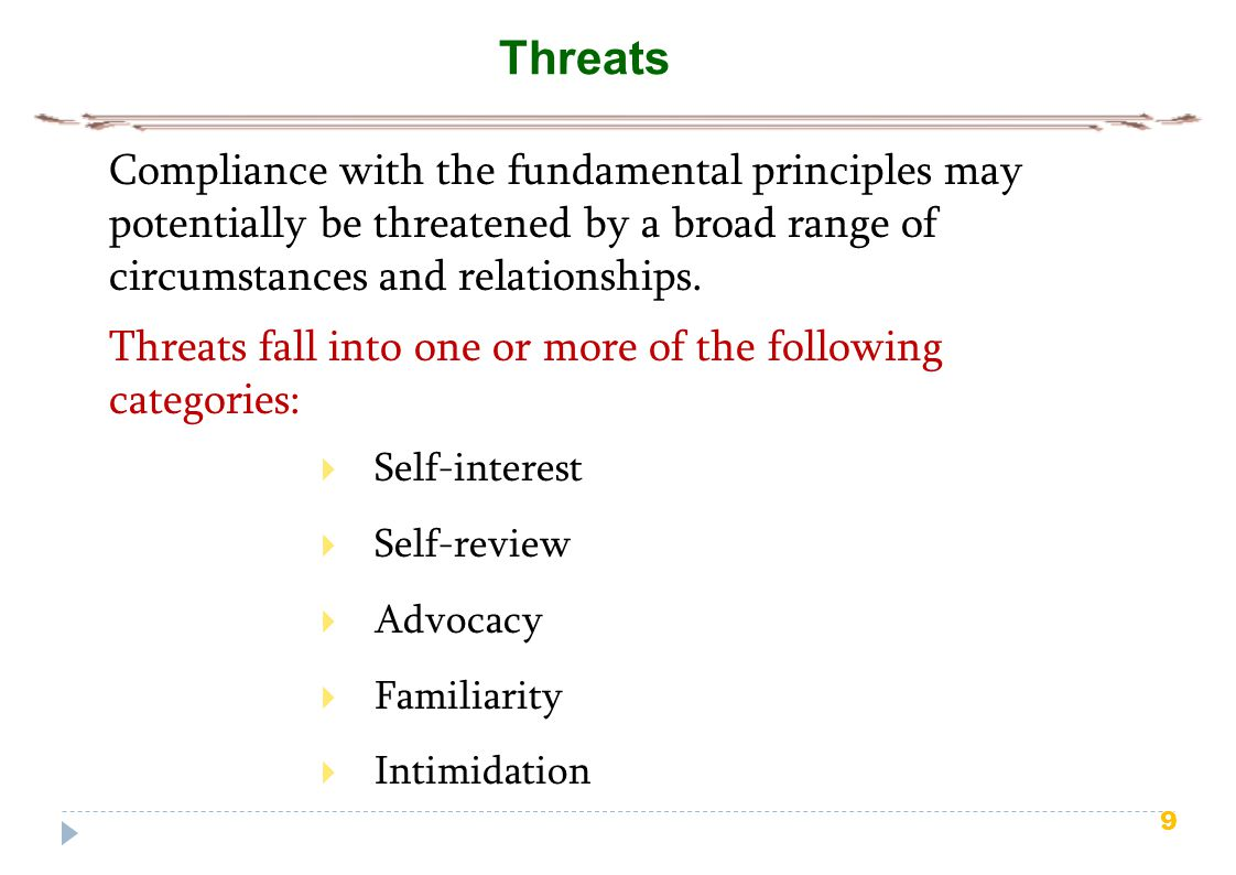 Threats Compliance with the fundamental principles may potentially be threatened by a broad range of circumstances and relationships.