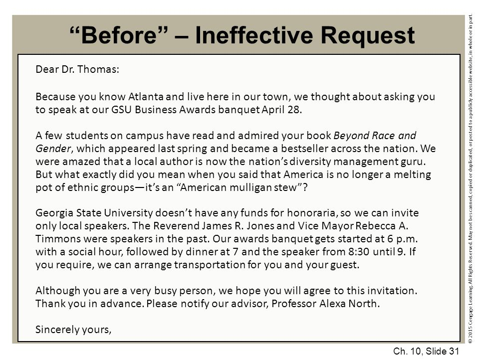 Before – Ineffective Request
