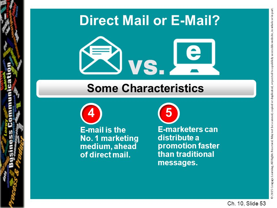 Direct Mail or E-Mail 4 5 Some Characteristics