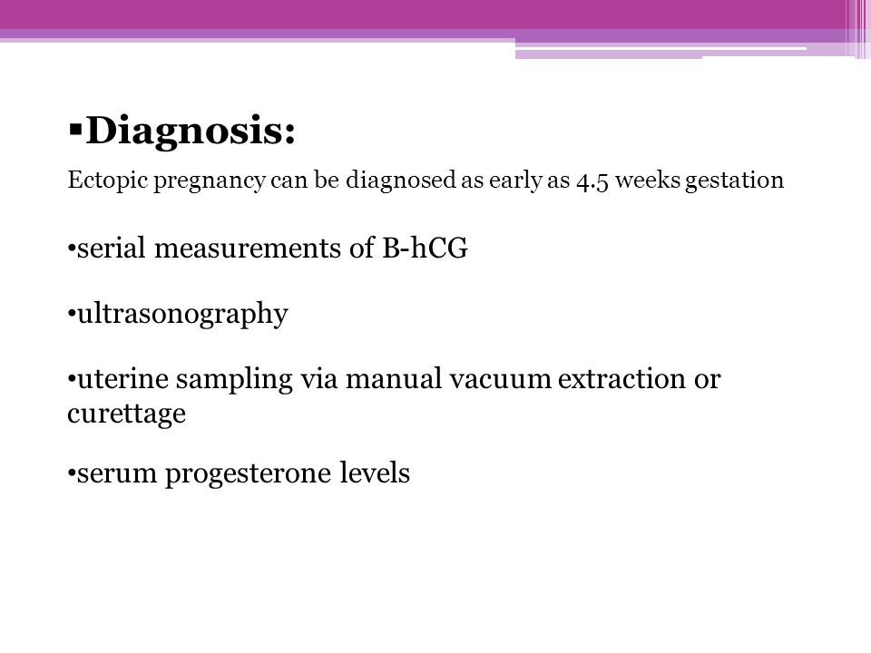 Diagnosis: serial measurements of B-hCG ultrasonography