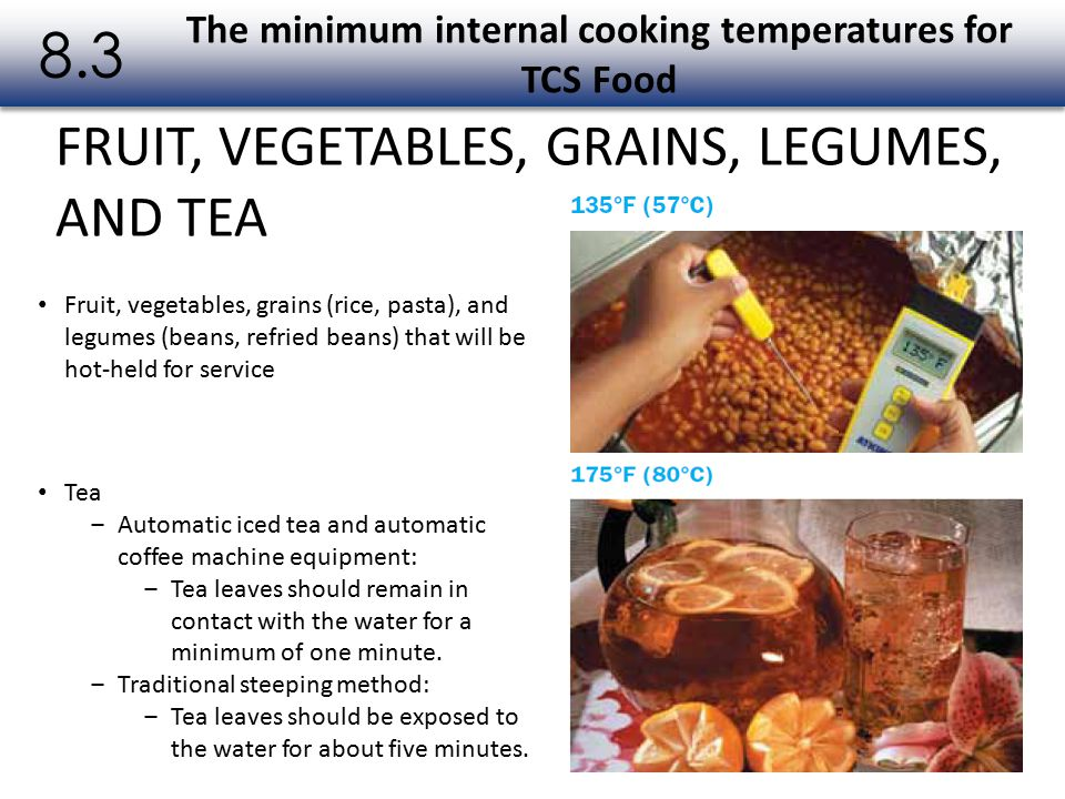 The minimum internal cooking temperatures for TCS Food