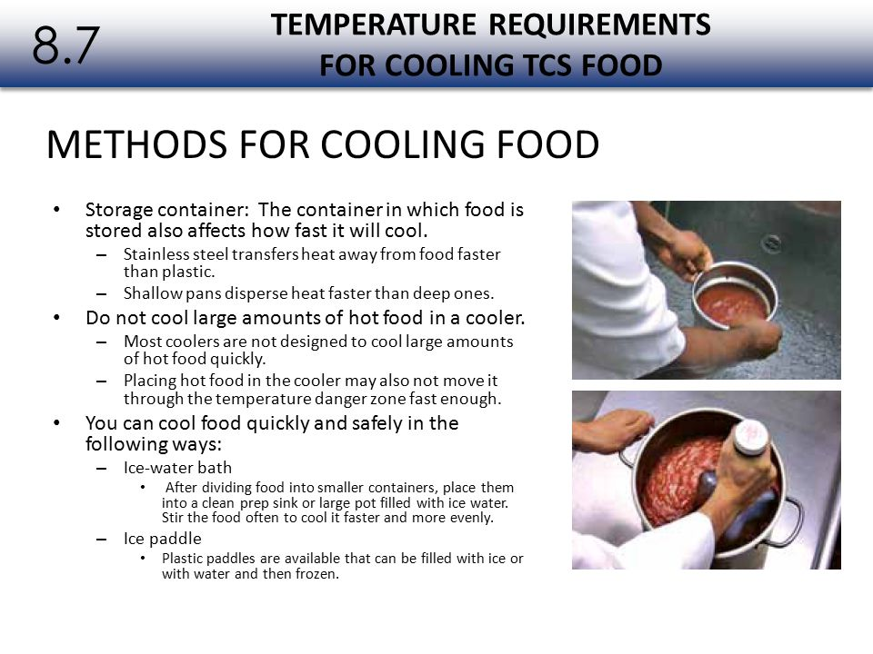 TEMPERATURE REQUIREMENTS FOR COOLING TCS FOOD