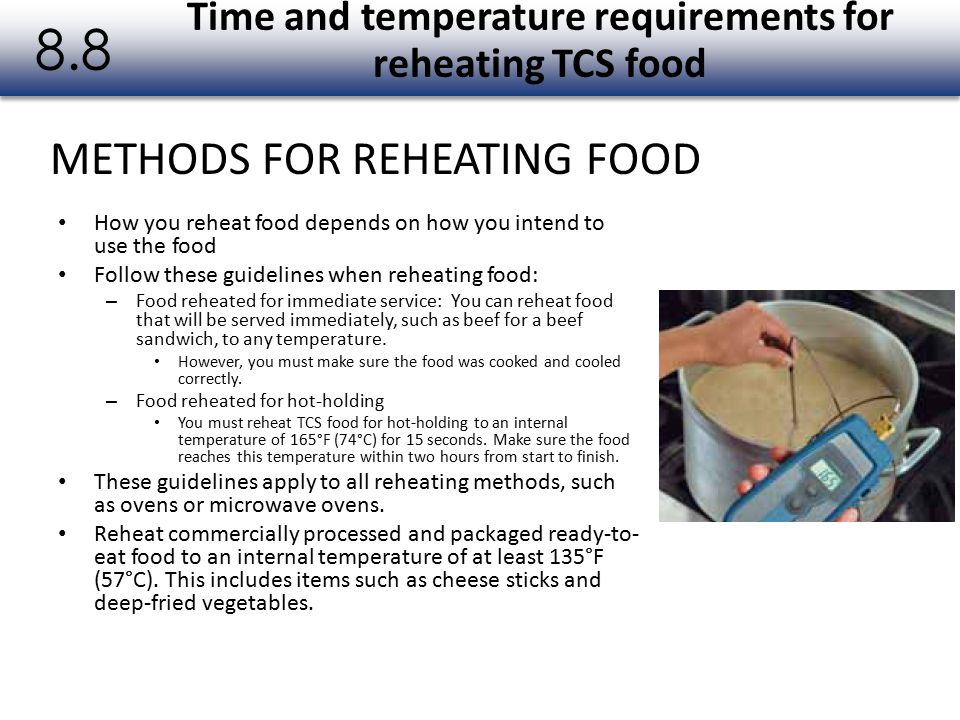 Time and temperature requirements for reheating TCS food